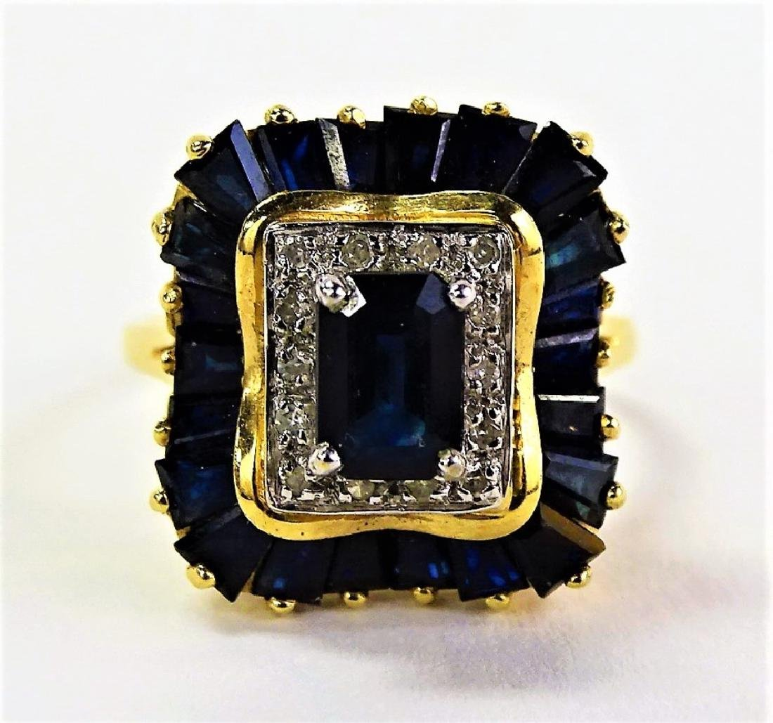 14KT Y GOLD DIAMOND AND SAPPHIRE RING