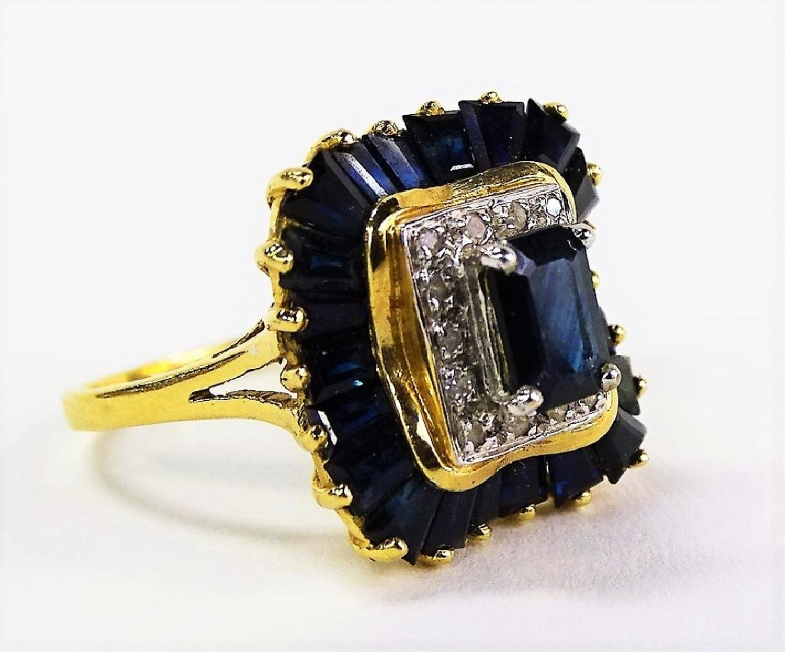 14KT Y GOLD DIAMOND AND SAPPHIRE RING - 2