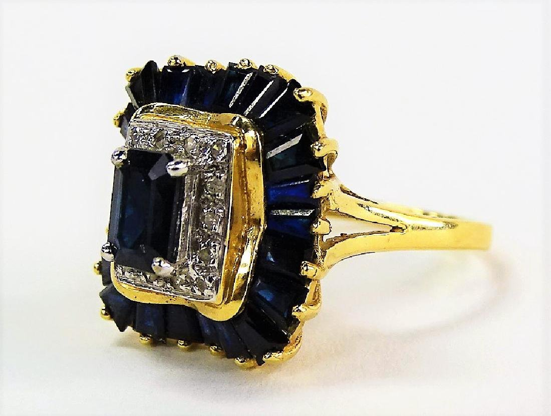 14KT Y GOLD DIAMOND AND SAPPHIRE RING - 3