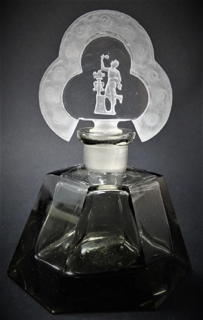 VINTAGE ART DECO CZECH CUT GLASS PERFUME BOTTLE - 2