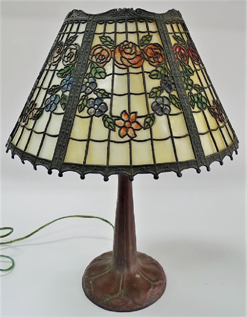 ORIGINAL ANTIQUE HANDEL LAMP BASE W/ SHADE