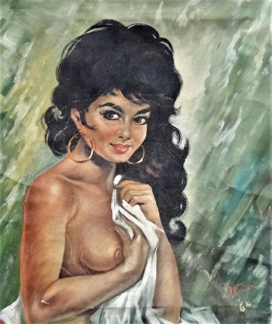 ITALIAN OIL ON CANVAS PAINTING OF NUDE SIGNED