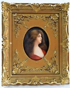 19TH C. GERMAN H/P PORCELAIN PORTRAIT PLAQUE