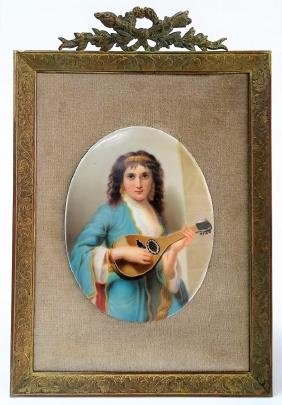 19TH C. CONTINENTAL H/P PORCELAIN PORTRAIT PLAQUE