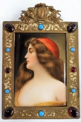 19TH C. WAGNER SIGNED PORCELIAN PORTRAIT PLAQUE