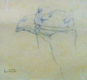 LEOPOLD CARL MULLER PENCIL ETCHING OF A CAMEL