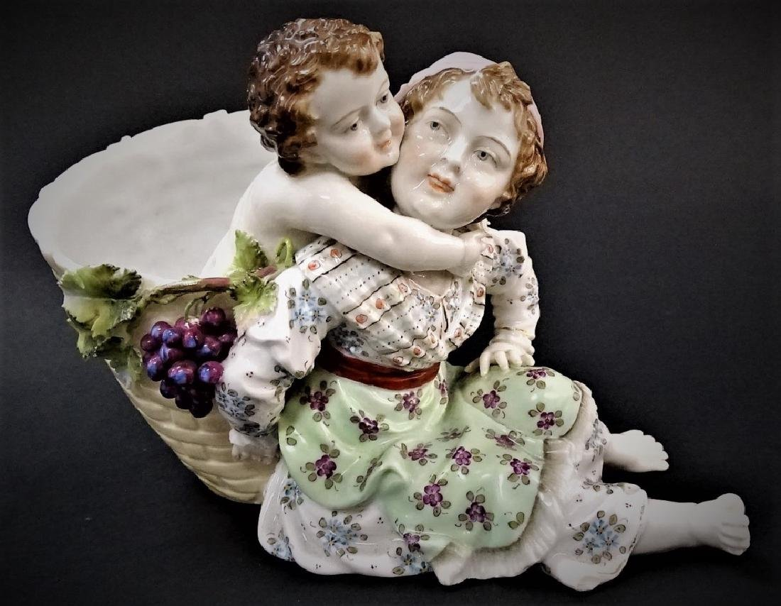 19TH C. GERMAN PORCELAIN FIGURAL BASKET GROUP
