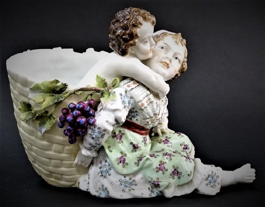 19TH C. GERMAN PORCELAIN FIGURAL BASKET GROUP - 2