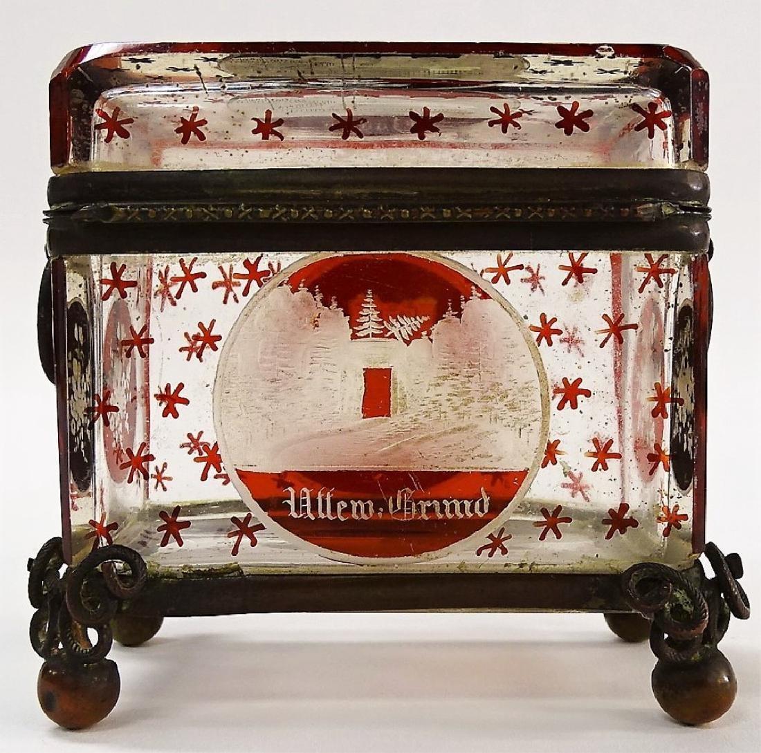 ANTIQUE GERMAN ETCHED GLASS TRINKET BOX