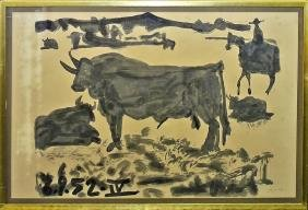 PABLO PICASSO PENCIL SIGNED LITHOGRAPH OF BULL