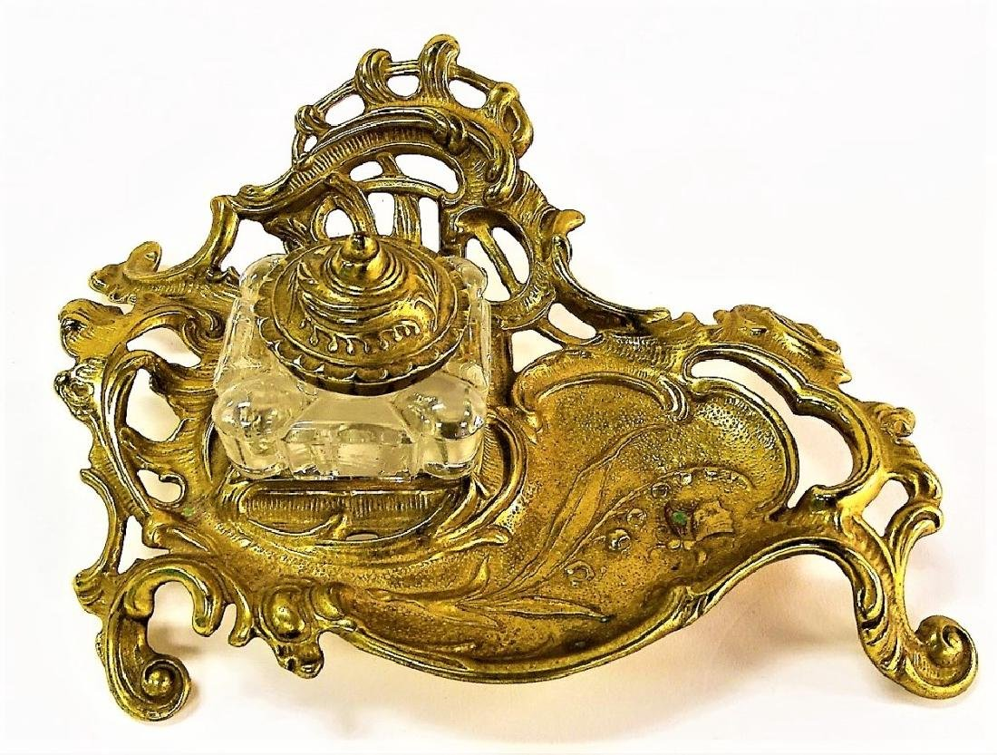 VINTAGE BRASS INKWELL VICTORIAN STYLE