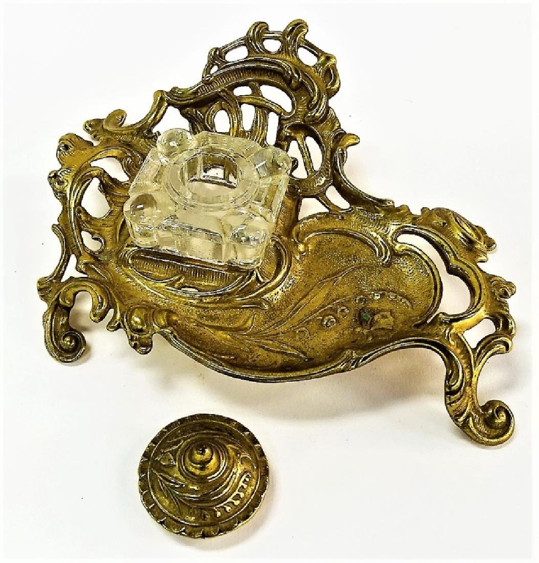 VINTAGE BRASS INKWELL VICTORIAN STYLE - 2