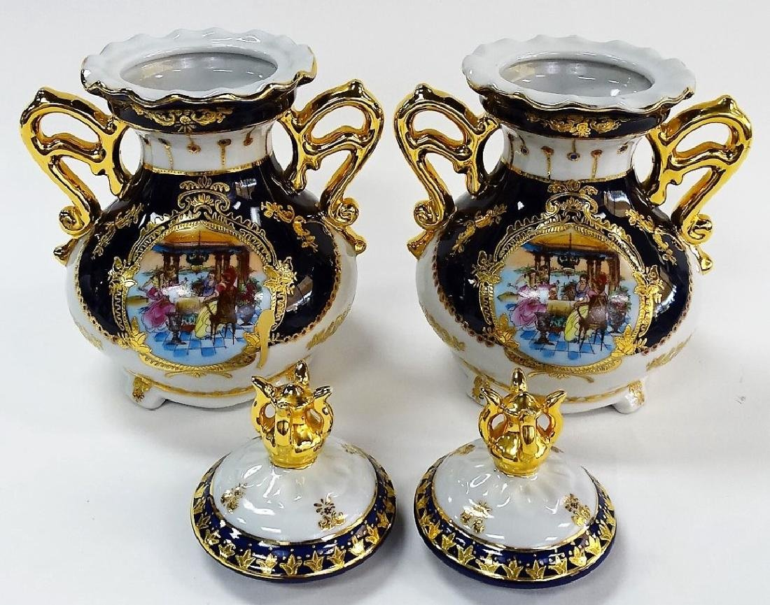 PAIR OF COBALT BLUE PORCELAIN LIMOGE URNS - 2
