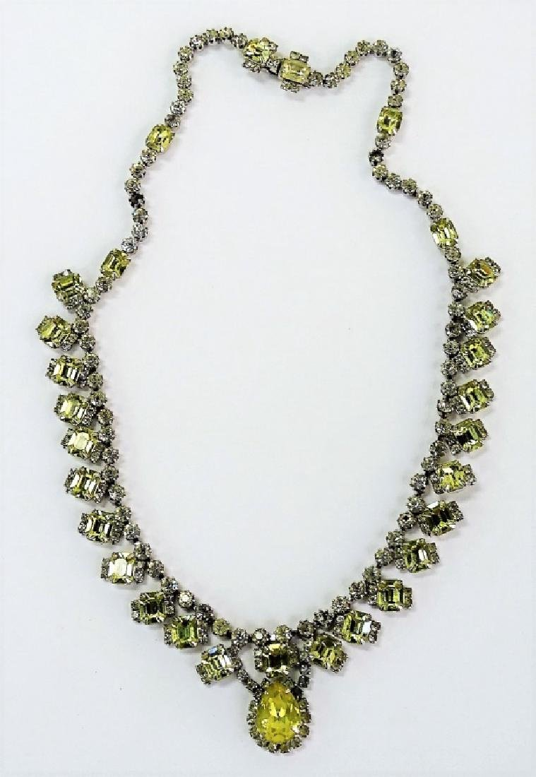 KRAMER OF NEW YORK FAUX WELLOW DIAMOND NECKLACE