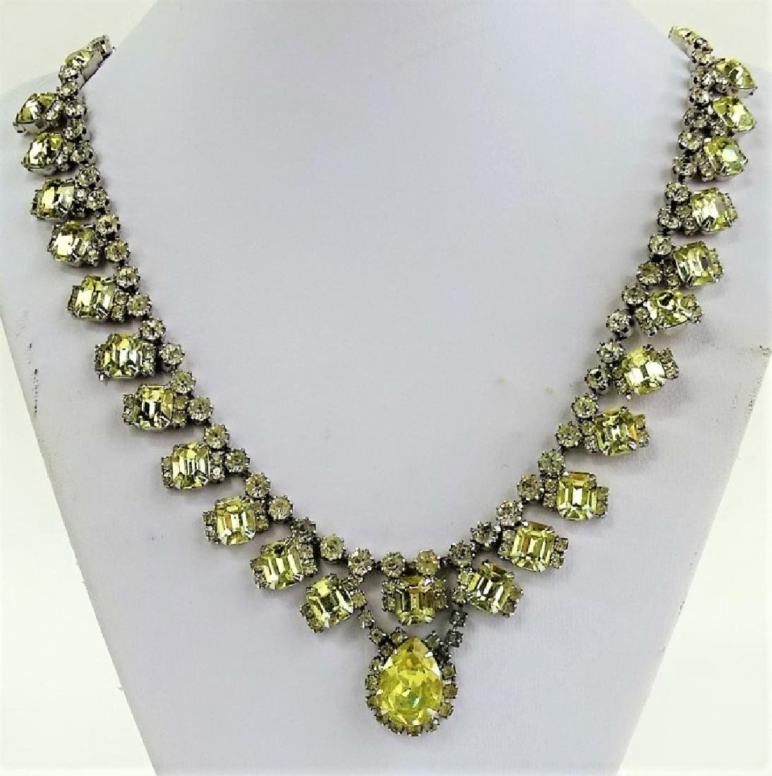 KRAMER OF NEW YORK FAUX WELLOW DIAMOND NECKLACE - 2
