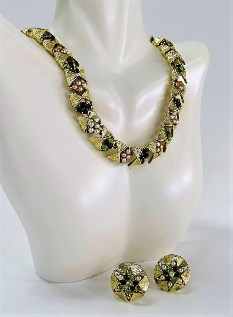 VINTAGE SIGNED CORO GOLD TONE SUITE/FAUX PEARL