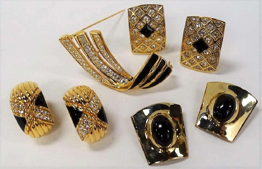 LOT OF BLACK & GOLD RHINESTONE COSTUME JEWELRY