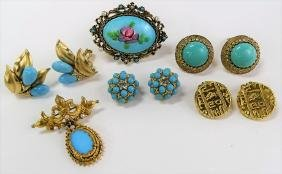 GROUPING OF GOLD TONE & TURQUOISE COSTUME JEWELRY