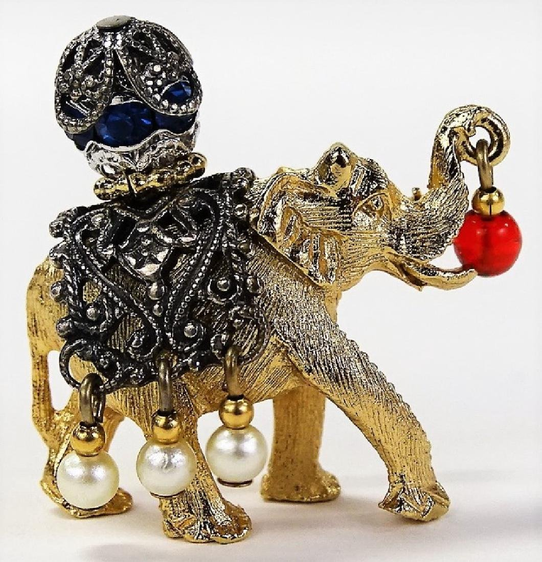NAPIER GOLD TONE & MARCASITE ELEPHANT PIN