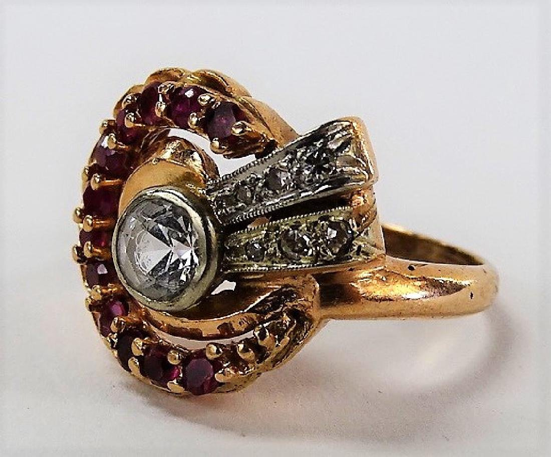 14K ROSE GOLD & FAUX DIAMOND RING