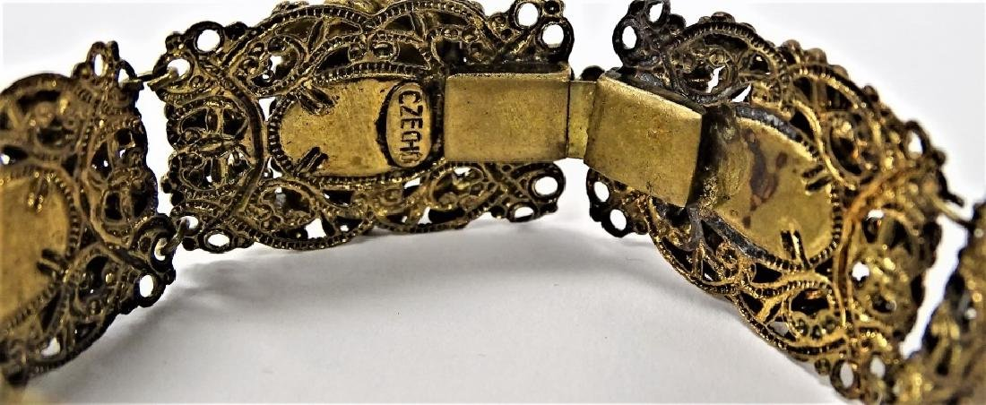 EARLY CZECH GOLD TONE & FAUX TURQUOISE BRACELET - 2