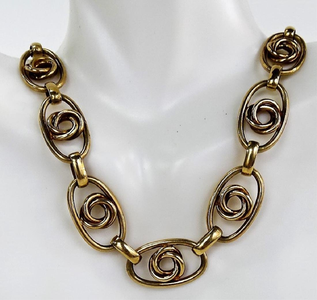 LARGE STERLING AND GOLD TONE NECKLACE