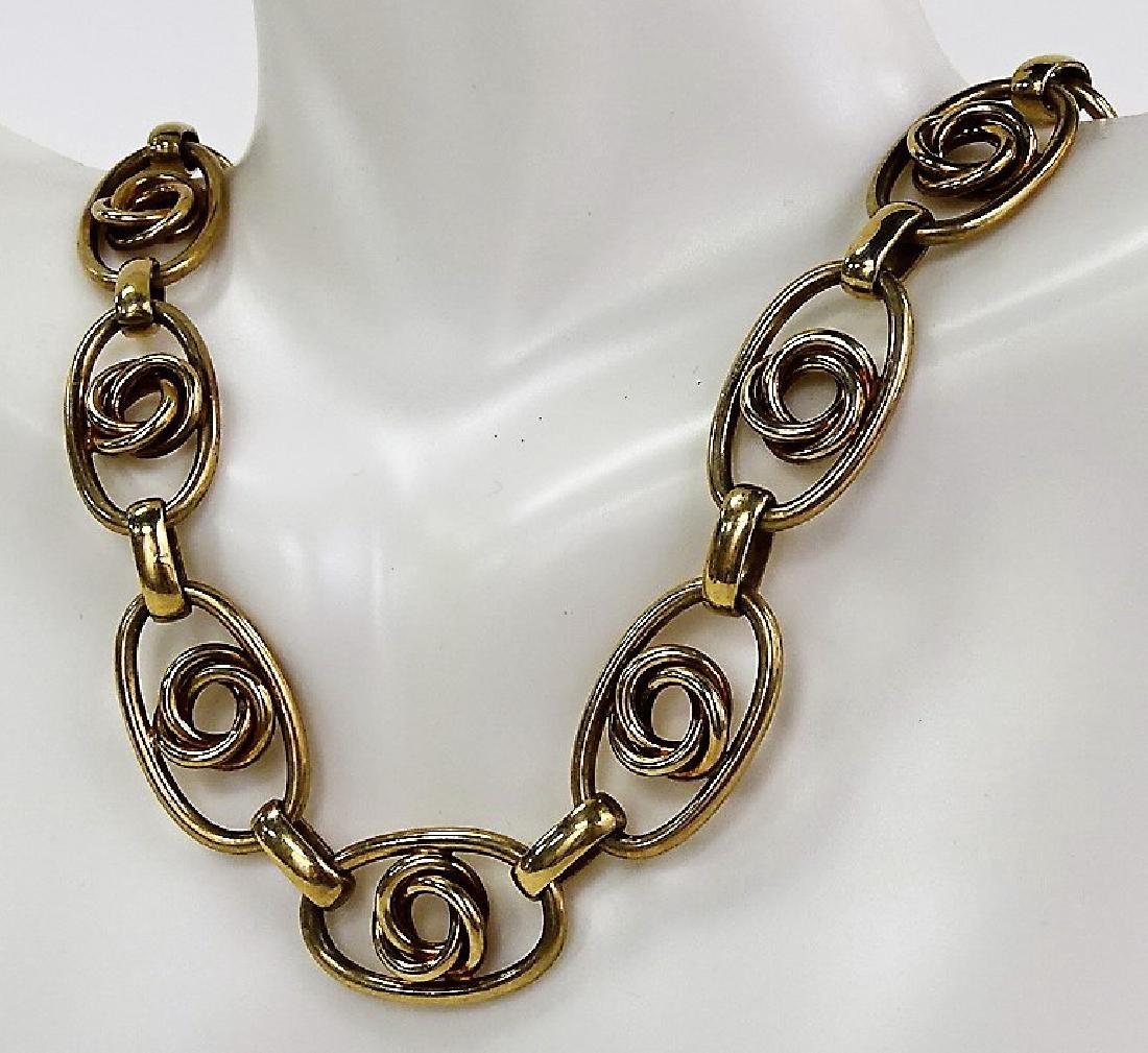 LARGE STERLING AND GOLD TONE NECKLACE - 2