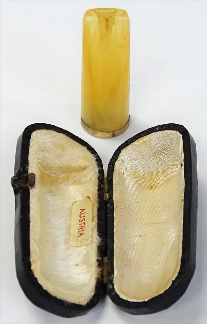 DECO AMBER AUSTRIAN CIGAR HOLDER W/ ORIG BOX