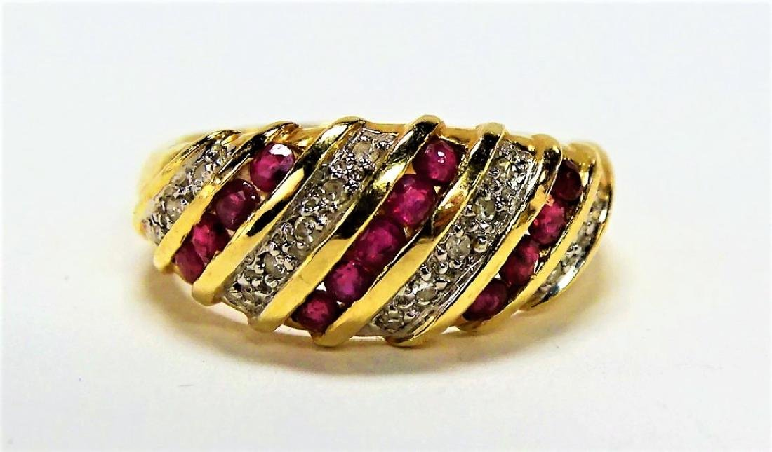 FANCY 14KT YELLOW GOLD RUBY & DIAMOND BAND RING