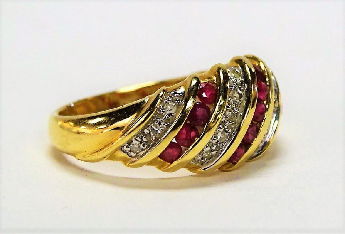 FANCY 14KT YELLOW GOLD RUBY & DIAMOND BAND RING - 2