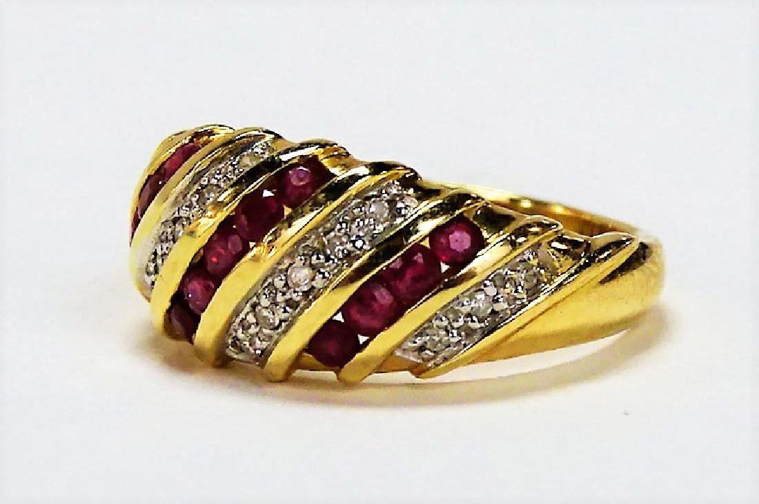 FANCY 14KT YELLOW GOLD RUBY & DIAMOND BAND RING - 3