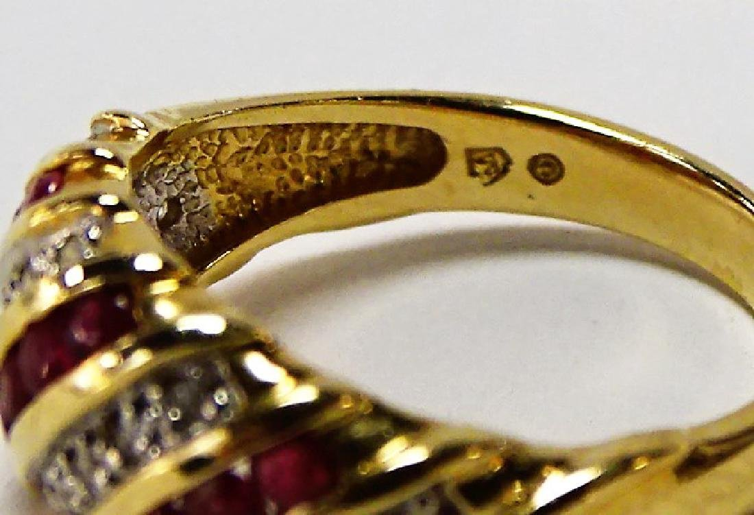 FANCY 14KT YELLOW GOLD RUBY & DIAMOND BAND RING - 4