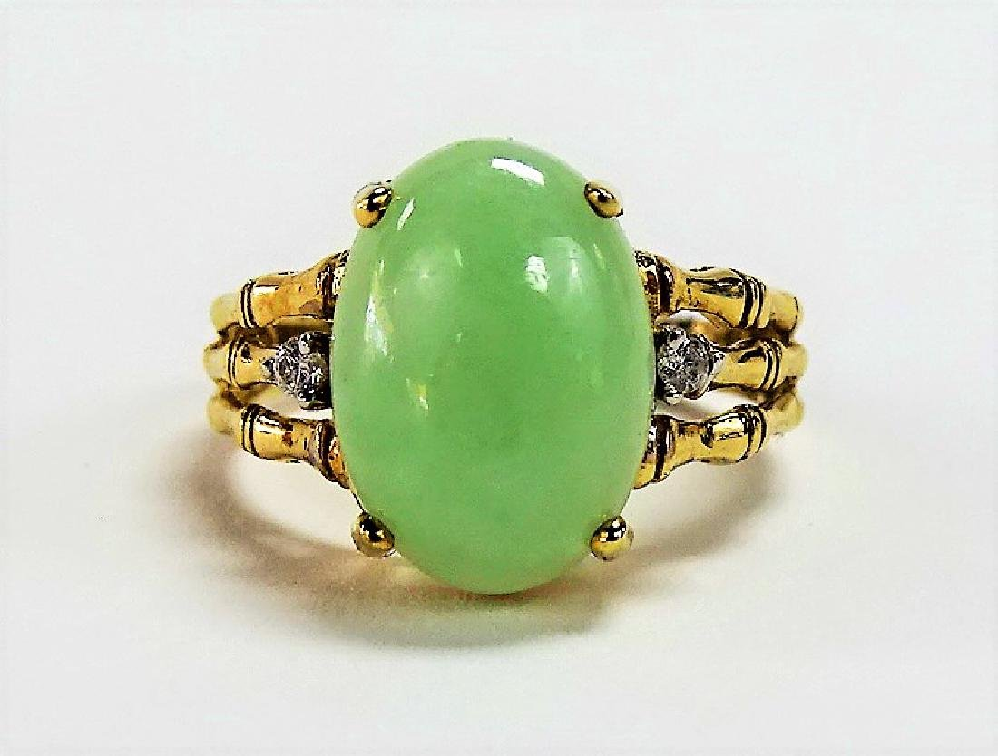 LADIES 10KT YELLOW GOLD JADEITE & DIAMOND RING