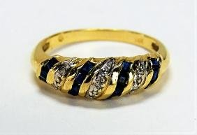 BEAUTIFUL 14KT YELLOW GOLD SAPPHIRE & DIAMOND RING
