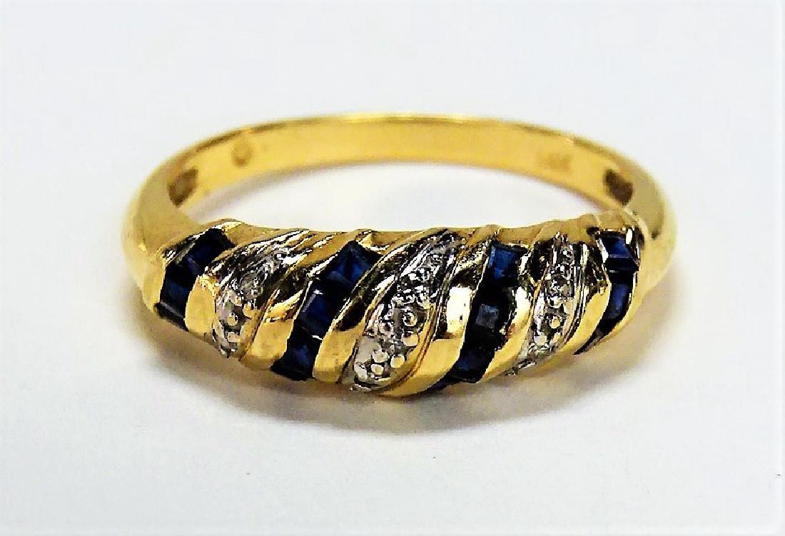 BEAUTIFUL 14KT YELLOW GOLD SAPPHIRE & DIAMOND RING