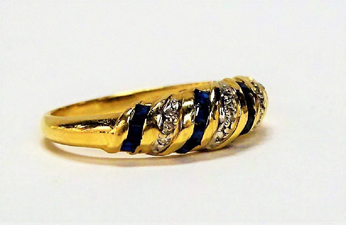 BEAUTIFUL 14KT YELLOW GOLD SAPPHIRE & DIAMOND RING - 2