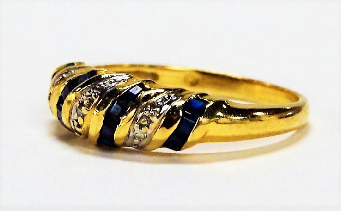 BEAUTIFUL 14KT YELLOW GOLD SAPPHIRE & DIAMOND RING - 3