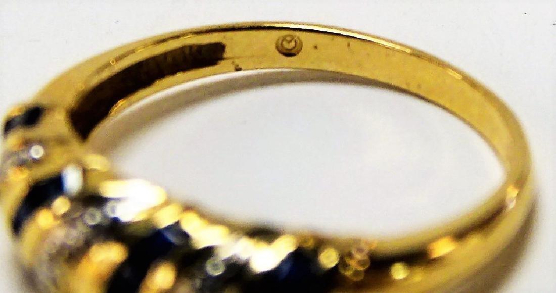 BEAUTIFUL 14KT YELLOW GOLD SAPPHIRE & DIAMOND RING - 4