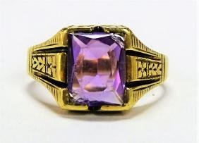 VINTAGE 14KT YG DECO STYLE AMETHYST RING