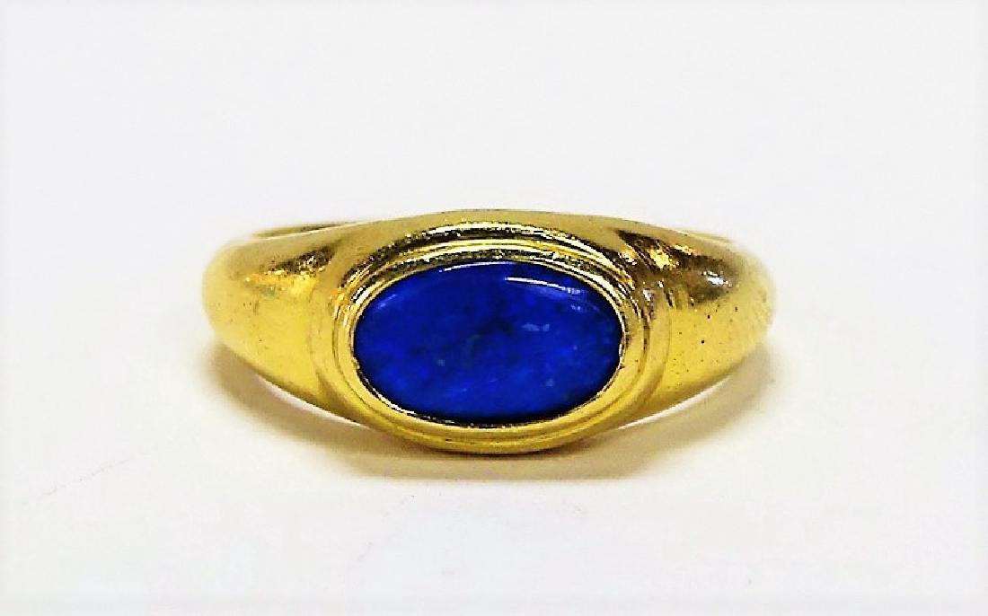 VINTAGE 18KT YG DECO STYLE BLUE OPAL RING