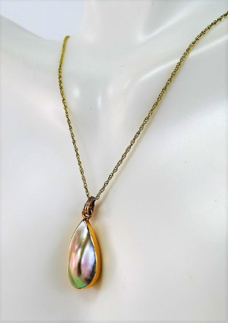VINTAGE 10KT YG MABE PEARL PENDANT NECKLACE