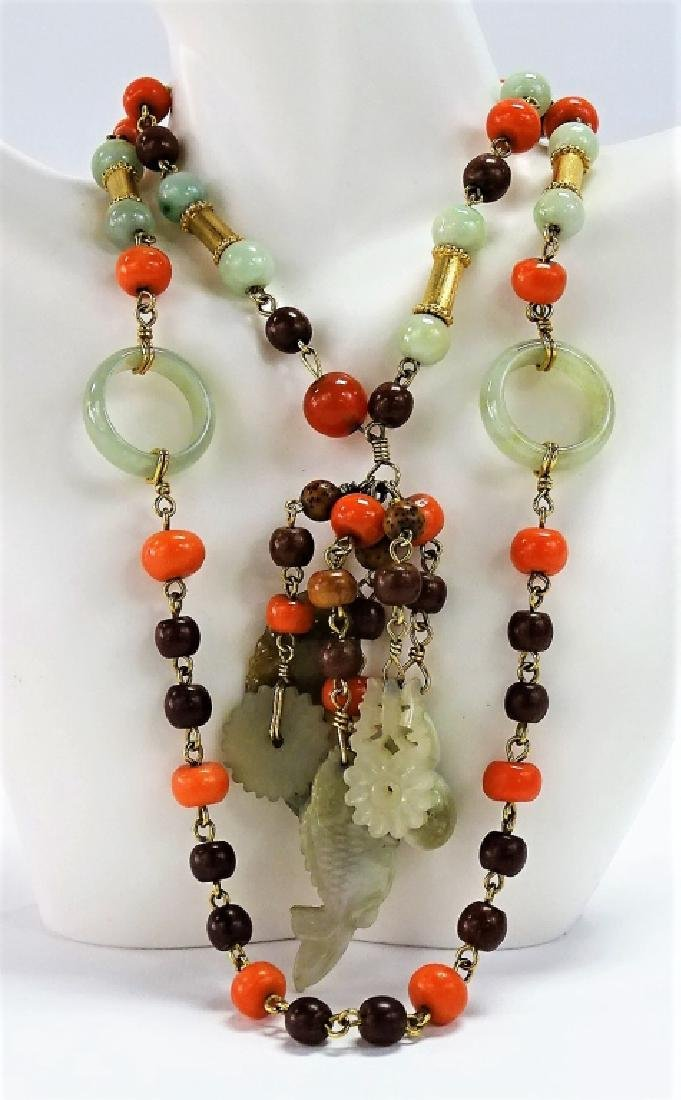 VINTAGE CHINESE BEADED JADE & CORAL NECKLACE