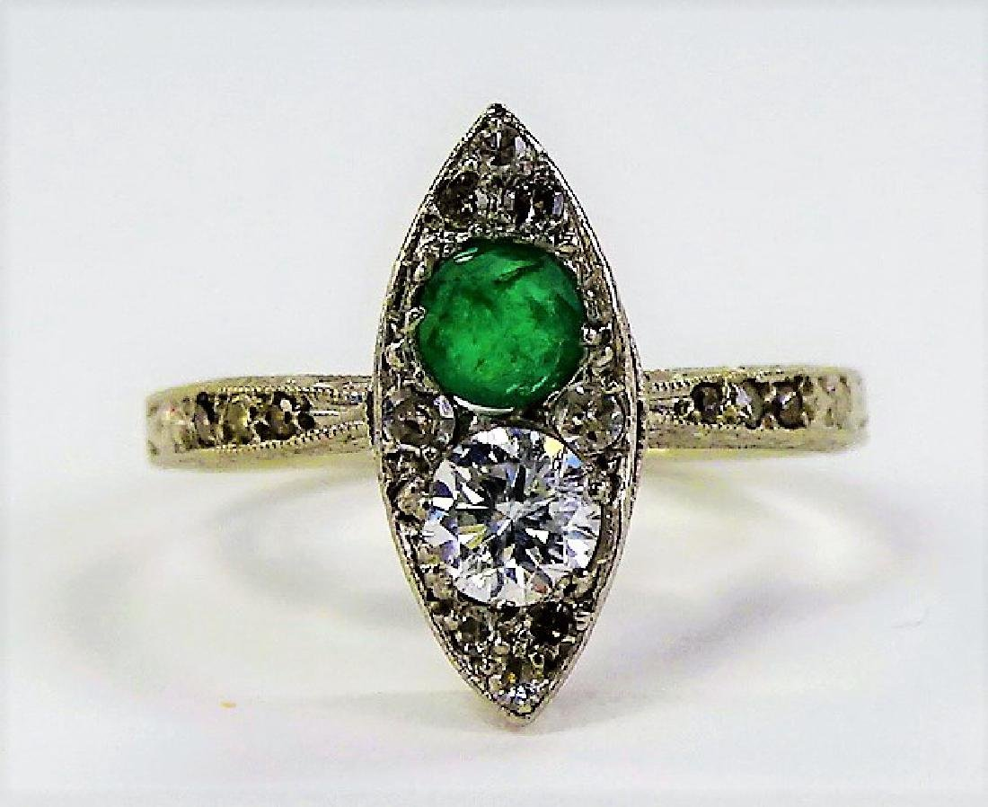 14 KT W GOLD DIAMOND AND EMERALD RING