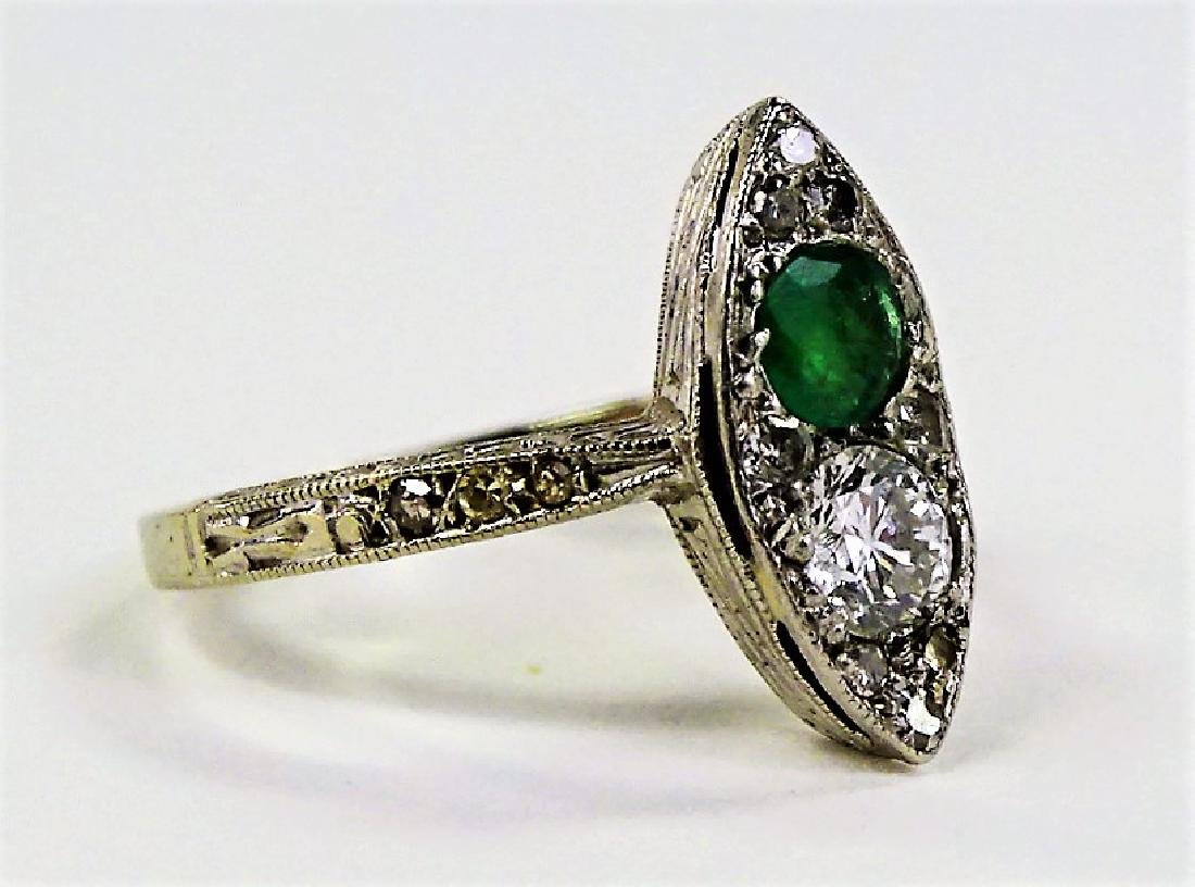 14 KT W GOLD DIAMOND AND EMERALD RING - 2