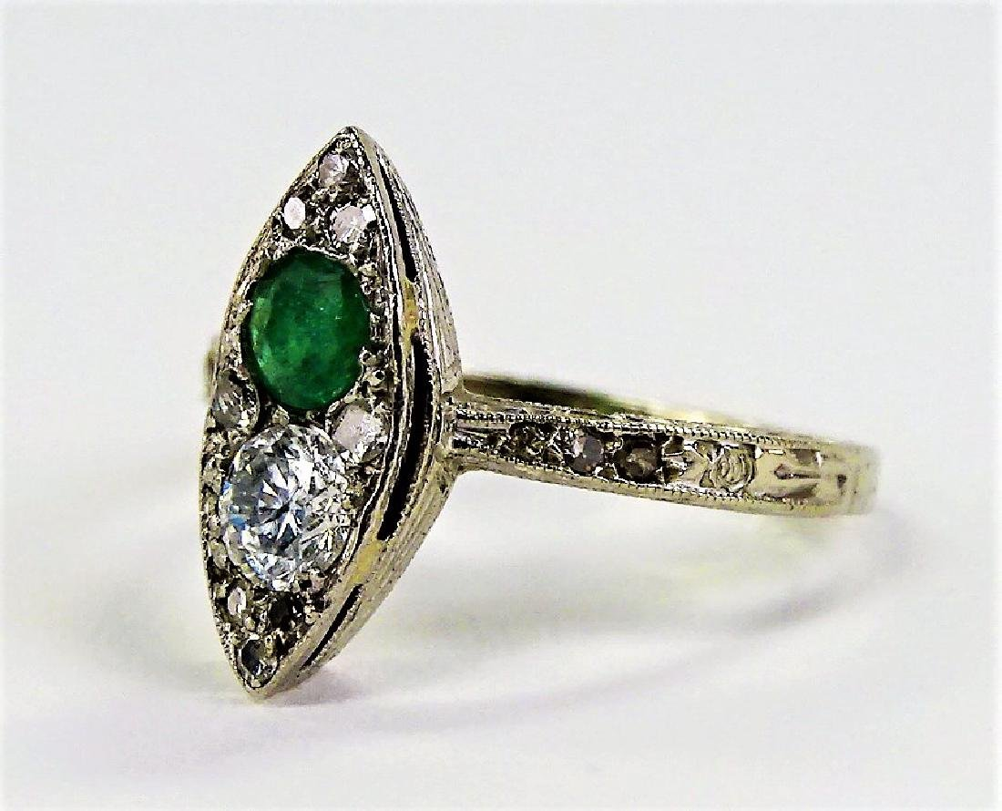 14 KT W GOLD DIAMOND AND EMERALD RING - 3