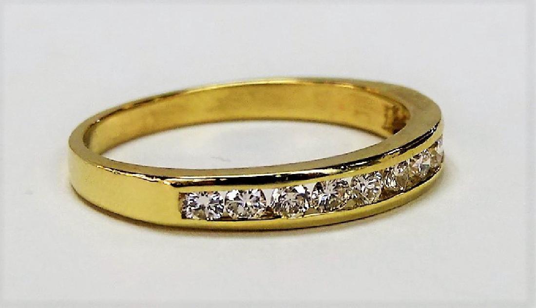 LADIES 14KT YG ESTATE DIAMOND WEDDING BAND RING - 2
