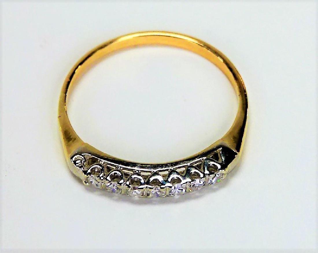 LADIES 14KT YG ESTATE DIAMOND BAND RING - 2