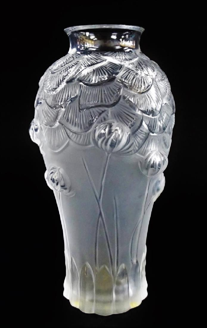 LALIQUE MOLDED & FROSTED CRYSTAL 'GIVERNY' VASE