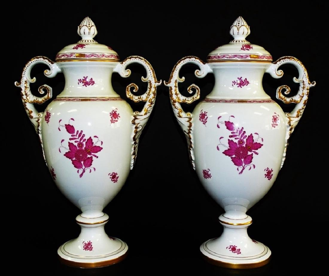 PR OF HEREND 'CHINESE BOUQUET' PORCELAIN URNS