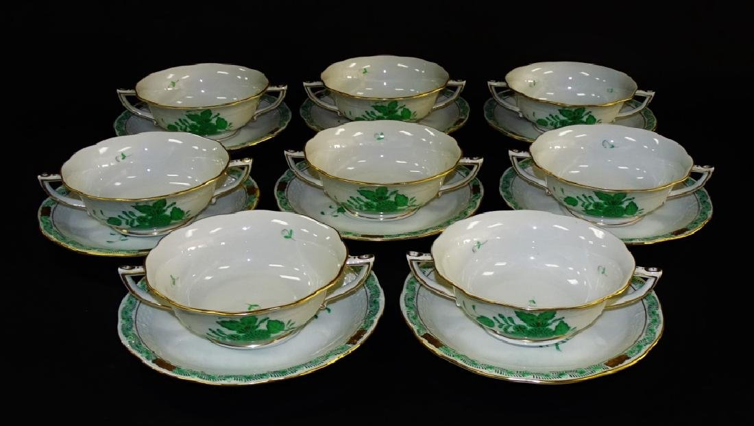 16PCS HEREND 'CHINESE BOUQUET' CUPS & SAUCERS